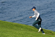 Jordan Spieth of the United States runs up the hill on the sixth hole during the third round of the AT&T Pebble Beach Pro-Am at Pebble Beach Golf Links on February 09, 2019 in Pebble Beach, California.