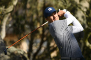 Jordan Spieth of the United States plays his shot from the 16th tee during the third round of the AT&T Pebble Beach Pro-Am at Pebble Beach Golf Links on February 09, 2019 in Pebble Beach, California.