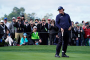 Phil Mickelson of the United States reacts to a putt on the second green during the third round of the AT&T Pebble Beach Pro-Am at Pebble Beach Golf Links on February 09, 2019 in Pebble Beach, California.