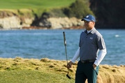 Jordan Spieth of the United States reacts on the 17th green during the third round of the AT&T Pebble Beach Pro-Am at Pebble Beach Golf Links on February 09, 2019 in Pebble Beach, California.