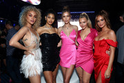 (L-R) Jasmine Sanders, Danielle Herrington, Josephine Skriver, Camille Kostek and Haley Kalil attend AT&T TV Super Saturday Night at Meridian at Island Gardens on February 01, 2020 in Miami, Florida.