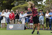 Torah Bright tees-off at the Tag Heuer Hole In One  Challenge at the Royal Sydney Golf Club on November 19, 2016 in Sydney, Australia.  The ball cannoned into the shins of an unlucky Channel 7 cameraman
