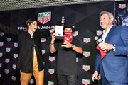 Paulina Vega, Alec Monopoly and VP Marketing North America, Andrea Soriani attend the TAG Heuer celebration of Art Basel Miami 2018 with the launch of Alec Monopoly's special edition timepieces on December 6, 2018 in Miami, Florida.
