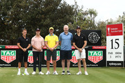 Kris Smith, Matt Suleau, Phil Davis, Andrew Gaze and Ed Jenkins pose during the TAG Heuer Million Dollar Celebrity Golf Challenge for Challenge Cancer at The Lakes Golf Club on November 17, 2018 in Sydney, Australia.