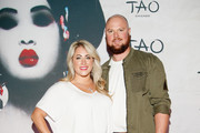 Farrah Stone Johnson and MLB player Jon Lester attend the TAO Chicago Grand Opening Celebration at TAO Chicago on September 15, 2018 in Chicago, Illinois.