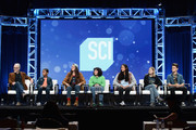 (L-R) Host and executive producer, Adam Savage, cast members Cannan Huey-You, Rachel Pizzolato, Elijah Horland, Valerie Castillo, Allie Weber and Jesse Lawless of 'MythBusters Jr.' speak onstage during the Discovery Channel/Science Channel portion of the Discovery Communications Summer TCA Event 2018 at The Beverly Hilton Hotel on July 26, 2018 in Beverly Hills, California.