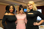 (L-R) Actresses Niecy Nash, Karrueche Tran and Jenn Lyon of 'Claws' poses in the green room during the TCA Turner Winter Press Tour 2017 Presentation at The Langham Resort on January 14, 2017 in Pasadena, California.  26574_002