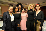 (L-R) Actresses Judy Reyes, Niecy Nash, Executive producer/Showrunner Janine Sherman Barrois, actress Karrueche Tran, Pilot Director Nicole Kassell, actresses Jenn Lyon and Carrie Preston of 'Claws' pose in the green room during the TCA Turner Winter Press Tour 2017 Presentation at The Langham Resort on January 14, 2017 in Pasadena, California.  26574_002