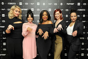 (L-R) Actresses Jenn Lyon, Karrueche Tran, Niecy Nash, Carrie Preston and Judy Reyes of 'Claws' pose in the green room during the TCA Turner Winter Press Tour 2017 Presentation at The Langham Resort on January 14, 2017 in Pasadena, California.  26574_002