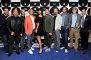(L-R) Executive producer Ben Newmark, TBS & TNT SVP Unscripted Series and Specials Michael Bloom, James Murray, Joseph Gatto, Jameela Jamil, Sal Vulcano, Brian Quinn, executive producer Dan Newmark, Andy Breckman, and TBS & TNT GM Brett Weitz pose in the green room during the TCA Turner Winter Press Tour 2019 at The Langham Huntington Hotel and Spa on February 11, 2019 in Pasadena, California. 505702