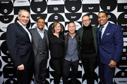 (L-R) CNN EVP Ken Jautz, Hill Harper, Donnie Wahlberg, Nancy Duffy, B.D. Wong, and Joey Jackson pose in the green room during the TCA Turner Winter Press Tour 2019 at The Langham Huntington Hotel and Spa on February 11, 2019 in Pasadena, California. 505702