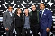 (L-R) Hill Harper, Donnie Wahlberg, Nancy Duffy, B.D. Wong, and Joey Jackson pose in the green room during the TCA Turner Winter Press Tour 2019 at The Langham Huntington Hotel and Spa on February 11, 2019 in Pasadena, California. 505702