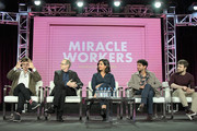 (L-R) Simon Rich, Steve Buscemi, Geraldine Viswanathan, Karan Soni, and Daniel Radcliffe of 'Miracle Workers' speak onstage during the TBS portion of the TCA Turner Winter Press Tour 2019 Presentation at The Langham Huntington Hotel and Spa on February 11, 2019 in Pasadena, California. 510169