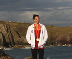 USA Olympic swimmer Rebecca Soni during a photo shoot at St.Davids  on September 17, 2011 in St Davids, Wales.