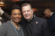 Bernice King (L) and Father Michael Pfleger (R) attend the TIME Launch Event for The March VR Exhibit at the DuSable Museum on February 26, 2020 in Chicago, Illinois.