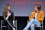 """India Eisley (L) and Chris Pine speak onstage at  TNT's """"I Am The Night"""" FYC Event on May 9, 2019 in North Hollywood, California."""