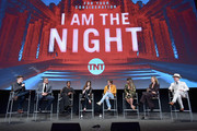 """(L-R) Ben Travers, Sam Sheridan, Golden Brooks, India Eisley, Chris Pine, Patty Jenkins, Connie Nielsen and Jefferson Mays speak onstage at TNT's """"I Am The Night"""" FYC Event on May 9, 2019 in North Hollywood, California."""