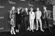 """Image has been shot in black and white. Color version is not available.) (L-R) Patty Jenkins, India Eisley, Golden Brooks, Connie Nielsen, Jefferson Mays, Chris Pine and Sam Sheridan attend TNT's """"I Am The Night"""" FYC Event on May 9, 2019 in North Hollywood, California."""
