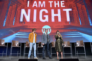 """(L-R) Chris Pine, Sam Sheridan and Patty Jenkins speak onstage at TNT's """"I Am The Night"""" FYC Event on May 9, 2019 in North Hollywood, California."""