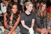 Angela Simmons, Kelly Osbourne and designer Nicky Hilton attend the Charlotte Ronson Spring 2012 fashion show during Mercedes-Benz Fashion Week at The Stage at Lincoln Center on September 10, 2011 in New York City.