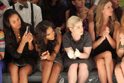 Actress Joy Bryant, Angela Simmons, Kelly Osbourne and designer Nicky Hilton attend the Charlotte Ronson Spring 2012 fashion show during Mercedes-Benz Fashion Week at The Stage at Lincoln Center on September 10, 2011 in New York City.