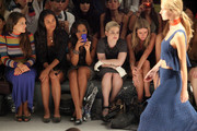 (2nd L-R) Actress Joy Bryant, Angela Simmons, Kelly Osbourne and designer Nicky Hilton attend the Charlotte Ronson Spring 2012 fashion show during Mercedes-Benz Fashion Week at The Stage at Lincoln Center on September 10, 2011 in New York City.