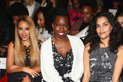 (L-R) Actors Angela Simmons, Adepero Oduye, and Sarita Choudhury attend the Vivienne Tam fashion show with TRESemme during Mercedes-Benz Fashion Week Fall 2014 at The Theater at Lincoln Center on February 9, 2014 in New York City.