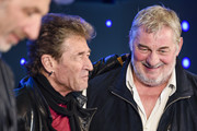 Rufus Beck, Peter Maffay and Heinz Hoenig attend a press conference for the show 'Tabaluga - Es lebe die Freundschaft' at Mercedes Benz Arena on April 26, 2016 in Berlin, Germany.