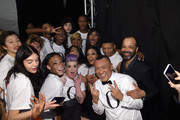 Brad Goreski, Kelly Osbourne, Rose Bertram, Winnie Harlow, Jeffrey Wright, Mary J. Blige, Joe Zee, Rosario Dawson, and June Ambrose pose backstage at#TackleEbola At Naomi Campbell's Fashion For Relief - Mercedes-Benz Fashion Week Fall 2015 at The Theatre at Lincoln Center on February 14, 2015 in New York City.
