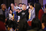 (L-R) Carlos Watson, Eddie Huang, Harry Shum Jr., and Kimora Lee Simmons record a TV debate for Take On America With OZY at The Bently Reserve on October 29, 2018 in San Francisco, California.