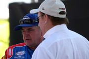 Joe Nemechek, driver of the #15 Fleetwing/D.A.B. Constructors Chevrolet, talks to team owner Richard Childress on the grid during qualifying for the NASCAR Xfinity Series Sparks Energy 300 at Talladega Superspeedway on April 28, 2018 in Talladega, Alabama.