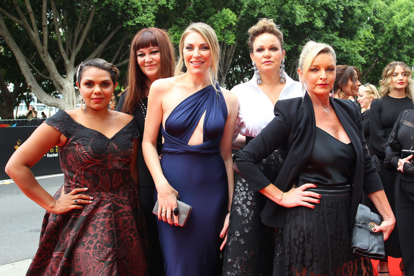 2018 AACTA Awards Presented By Foxtel - Red Carpet [event,lady,dress,fashion,formal wear,fun,prom,gown,aacta awards,leah purcell,kate jenkinson,katrina milosevic,rarriwuy hick,tammy macintosh,foxtel,red carpet,l-r,the star]