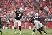 Quarterback Carson Palmer #3 of the Arizona Cardinals throws a pass during the first half of the NFL game against the Tampa Bay Buccaneers at the University of Phoenix Stadium on October 15, 2017 in Glendale, Arizona.