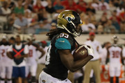 Chris Ivory #33 of the Jacksonville Jaguars runs for yardage during a preseason game against the Tampa Bay Buccaneers at EverBank Field on August 17, 2017 in Jacksonville, Florida.