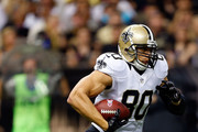 Jimmy Graham #80 of the New Orleans Saints runs for yards during the second quarter of a game against the Tampa Bay Buccaneers at Mercedes-Benz Superdome on October 5, 2014 in New Orleans, Louisiana.