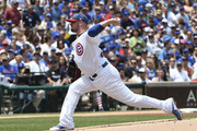 Jon Lester #34 of the Chicago Cubs pitches against the Tampa Bay Rays during the first inning on July 4, 2017 at Wrigley Field  in Chicago, Illinois.