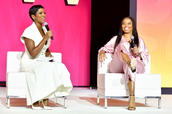 2019 ESSENCE Festival Presented By Coca-Cola - Ernest N. Morial Convention Center - Day 1 [pink,fashion,sitting,performance,event,talent show,leg,adaptation,stage,fashion design,jemele hill,tamron hall,ernest n. morial convention center,louisiana,new orleans,coca-cola,essence festival]