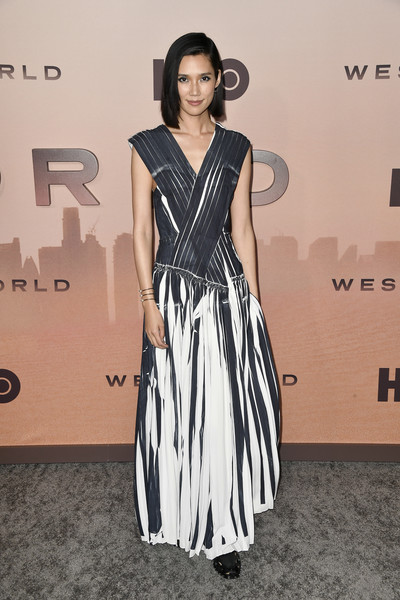 "Premiere Of HBO's ""Westworld"" Season 3 - Arrivals [westworld,season,clothing,fashion model,dress,shoulder,black-and-white,fashion,hairstyle,carpet,fashion design,red carpet,arrivals,tao okamoto,california,hollywood,tcl chinese theatre,hbo,premiere,celebrity,red carpet,fashion show,fashion,supermodel,haute couture,runway,socialite,gown,carpet]"