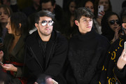 Andrew Warren and Jackson Krecioch attend the Taoray Wang front row during New York Fashion Week: The Shows at Gallery II at Spring Studios on February 9, 2019 in New York City.