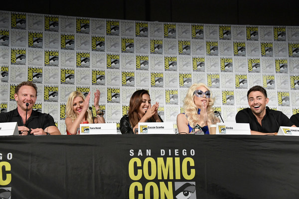Comic-Con International 2018 - 'The Last Sharknado: Its About Time' Panel [the last sharknado: its about time,event,news conference,photography,advertising,media,jonathan bennett,cassie scerbo,ian ziering,tara reid,l-r,san diego convention center,alaska,panel,comic-con international]