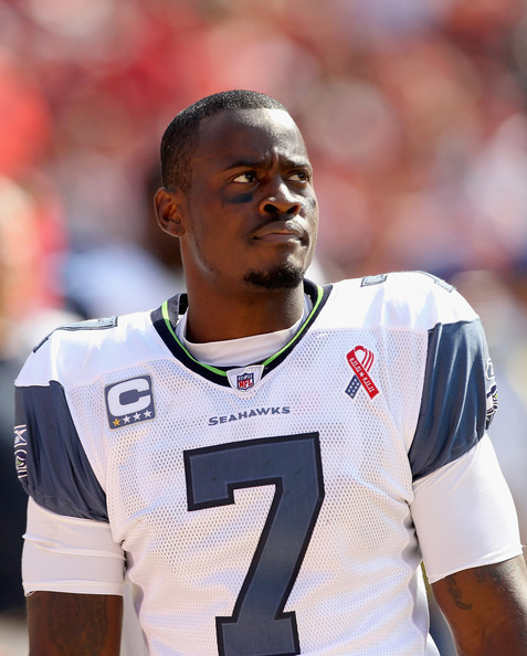 Tarvaris Jackson Tarvaris Jackson #7 of the Seattle Seahawks watches a replay on the big screen during their season opener against the San Francisco 49ers at Candlestick Park on September 11, 2011 in San Francisco, California.