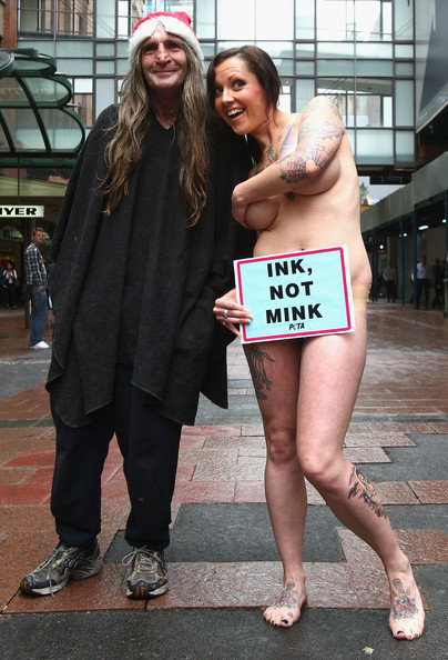 Dani Lugosi Tattooed model and PETA supporter Dani Lugosi protests against