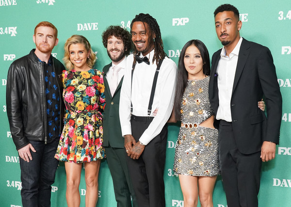 "Premiere Of FXX's ""Dave"" - Arrivals [event,premiere,award,carpet,award ceremony,red carpet,arrivals,dave burd,andrew santino,christine ko,taylor misiak,gata,l-r,fxx,premiere,premiere,red carpet,celebrity,fashion,stx it20 risk.5rv nr eo,suit,formal wear,socialite,\uff46\uff52\uff49\uff45\uff4e\uff44\u30fb\uff53\uff48\uff49\uff50\uff4d,public relations,carpet]"