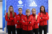 (l-r)  Lauren Gray, Vicki Adams, Kelly Schafer, Anna Sloan and Eve Muirhead pose during the Team GB Kitting Out Ahead Of Pyeongchang 2018 Winter Olympic Gamesast Adidas headquarters on January 24, 2018 in Stockport, England.