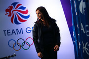 Eve Muirhead tries on her uniform during the Team GB Kitting Out Ahead Of Pyeongchang 2018 Winter Olympic Gamesast Adidas headquarters on January 24, 2018 in Stockport, England.