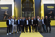 (L-R) Giorgio Rocca, Madssimiliano Rosolino, Clemente Russo, Davide Cassani, Fabio Cannavaro, Pierluigi Alessandri, Demetri Albertini, Flavia Pennetta, Nerio Alessandri, Alessandra Sensini, Antonio Rossi, Giuliano Razzoli, Yuri Chechi, Peter Fill and Gianluca Zambrotta attend the Technogym Listing Ceremony at Palazzo Mezzanotte on May 3, 2016 in Milan, Italy. Technogym is the world leader in the construction of equipment for gyms, founded in 1983 by Nerio Alessandri, and was listed today on the Milan Stock Exchange.