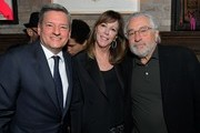 Netflix Chief Content Officer Ted Sarandos, Jane Rosenthal and Robert De Niro  attend Ted's 2020 Oscar Nominee Toast at Craig's on February 08, 2020 in West Hollywood, California.