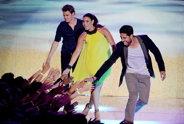 (L-R) Actor Paul Wesley, singer Jordin Sparks, and actor Adam Rodriguez speak onstage during the 2012 Teen Choice Awards at Gibson Amphitheatre on July 22, 2012 in Universal City, California.