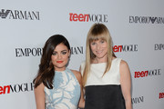 Actress Lucy Hale poses with editor in chief Amy Astley at Teen Vogue's 10th Anniversary young Hollywood party on September 27, 2012 in Beverly Hills, California.
