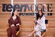 Jamie Margolin (L) and Eva Longoria speak onstage during The Change Agents keynote at The Teen Vogue Summit 2018: Serena Williams and Naomi Wadler at 72andSunny on December 1, 2018 in Los Angeles, California.
